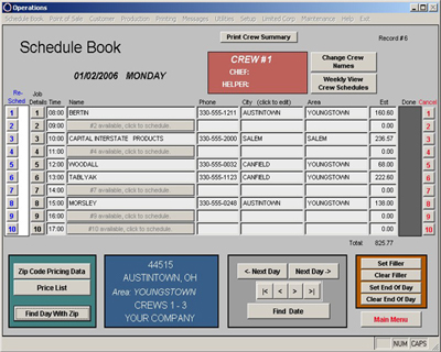 pcom operations software schedule book for scheduling crews before dispatch in your carpet cleaning business, hvac, or other service contractor business.